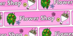 A colourful 'flower shop' display banner - perfect for use in your garden centre display! Garden Center Displays, Garden Centre, Prop Box, Display Banners, Yellow Art, Floral Letters, Classroom Displays, Primary School, Pre School