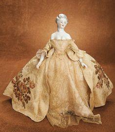 "Rare German Porcelain Shoulder Head Lady as Tea Cozy 15"" (38 cm.) Porcelain shoulder head with oval face,elongated"