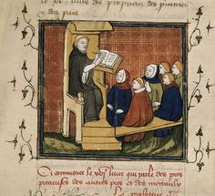 Detail of a miniature of a scribe demonstrating to his pupils, from Jean Corbechon's translation of Bartholomaeus Angelicus' De proprietatib...