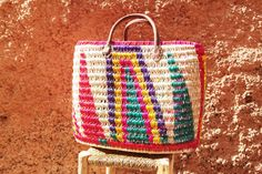 Colorful market basket made in Morocco by Shkoon on Etsy
