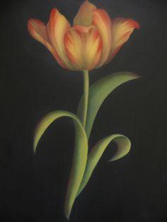 Tulip, acrylics painted by Sue Pruett