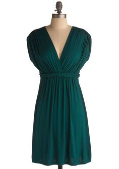 Closet Braid Dress in Deep Jade - Green, Solid, Braided, Casual, A-line, Empire, Short Sleeves, Short, Exclusives, Jersey, Holiday Sale, V Neck, Top Rated
