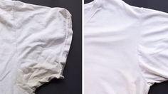 Besonders bei weißen T-Shirts entstehen schnell gelbliche Schweißflecken. Ein normaler Waschgang reicht da nicht aus. Das ist jedoch noch kein Grund, das Shirt aufzugeben. Mit einem simplen Trick werden Ihre T-Shirts wieder strahlend weiß.