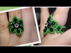 Easy Beaded Flower Ring Beading Tutorial by HoneyBeads (Photo tutorial) - YouTube