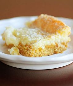 Chess Squares Recipe      1 box yellow cake mix     3 eggs     8 oz cream cheese, softened     1/2 cup (1 stick) butter, melted     4 cups (1 lb) powdered sugar Directions: Preheat oven to 300 and spray a 9×13 dish with cooking spray.     Mix cake mix, melted butter and one egg to a soft dough. Press into the bottom of the pan.     Mix powdered sugar, softened cream cheese and remaining two eggs until smooth, about 1-2 mins. Pour on top of crust. Bake at 300 for 40-50 minutes until to