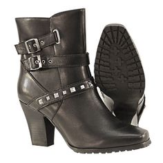 Yes please Womens 2 Buckle Stud Leather Biker Boots zip sides The BEST ladies boot styles are at www.SouthernLeathers.com