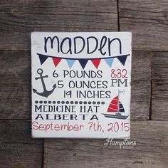 Nautical Nursery Decor  Birth Stat Sign  by HamptonsNook on Etsy