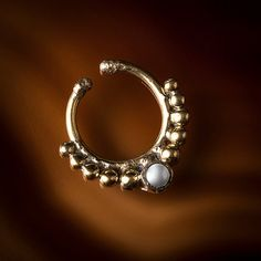 Tribal Fake Brass Septum Ring Faux Septum Clip On by TRIBALIK