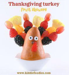 Thanksgiving turkey with fruit skewers - Kiddie Foodies