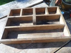 Old Wooden (thought to be Oak) Trug come organiser All original hand made vintage piece ideal for the garden or household Storage by VintageFoggy on Etsy