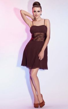 A-line Spaghetti Straps Short/Mini Chiffon And Satin Cocktail /Wedding Party Dress