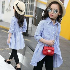 Girls School Blouses Cotton Spring 2019 Children Clothing Irregular Striped Shirt Girls Clothes for 12 Years Tee Shirt Enfant Girls Fall Outfits, Teenager Outfits, Cute Outfits For Kids, Cotton Shirt Dress, Striped Shirt Dress, Blouse Dress, Collar Blouse, Girls Blouse, Spring Shirts