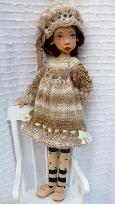 HAND KNITTED DRESS SET FOR MSD LAYLA  KAYE WIGGS DOLLSTOWN DT7 BY BARBARA