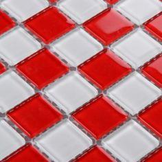 Glass Mosaic Tile Sheets Kitchen Backsplash Cheap 3031 Red and White Crystal Mosaic Bathroom Wall Tiles