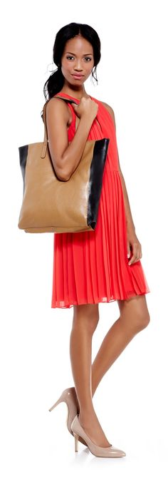 Ainsley Tote, Desirae Almond Toe Pumps, Red Pleated Dress