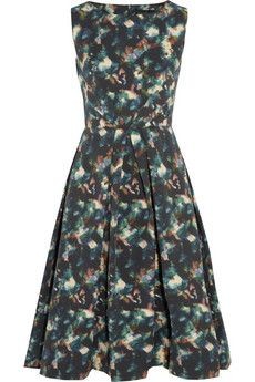 Saloni Lauren printed cotton-blend cloqué dress | NET-A-PORTER