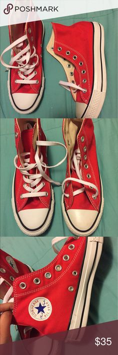 Red converse Red pair of converse. Size 4 in youth and 6 in women's. They're like new and never worn but keep in mind they've been sitting in my closet for over a year without the box so they have some marks and will need a cleaning. Converse Shoes Athletic Shoes