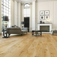 Oak Hardwood flooring beautiful in every way. This oak plank flooring is ideal for large living areas. Available from our Showrooms and online