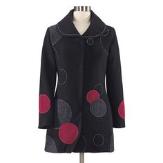 Artful Dots Boiled Wool Coat - Women's Clothing, Unique Boutique Styles & Classic Wardrobe Essentials Boiled Wool Jacket, Classic Wardrobe, Get Dressed, Fashion Boutique, Classic Style, Jackets, Clothes, High Contrast, Wearable Art