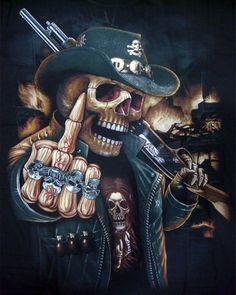 Cowboy Shotgun Skull design