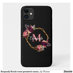 Shop Burgundy florals roses geometric monogram black Case-Mate iPhone case created by Thunes. Iphone 11, Apple Iphone, Iphone Cases, Black Colour Background, Monogram Letters, Plastic Case, Florals, Burgundy, Christmas Gifts