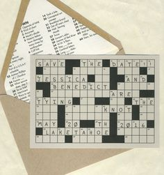 Crossword Puzzle Save the Date by bbinvitations on Etsy