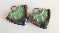 Handmade porcelain Earring Pairs charms   green and por Majoyoal
