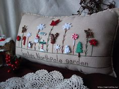 Santa's Workshop Garden Pillow by PillowCottage on Etsy Felt Crafts, Christmas Crafts, Christmas Decorations, Christmas Ornaments, Holiday Decor, Christmas Cushions, Christmas Pillow, Sewing Crafts, Sewing Projects