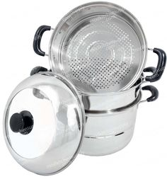 """""""3-Layer Steamer"""" eat healthy and start steaming! - high quality stainless steel - steam veggies& seafood - includes two interchangeable perforated layers  www.modkitchensupply.com"""