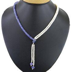 3mm-4mm Lariat Style Tanzanite Necklace With #jewelry #necklace @EtsyMktgTool #diamondnecklace #loosediamondbeads #beadswholesale