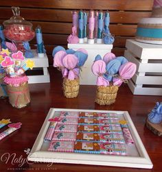 Themed candy at a Sheriff Callie birthday party! See more party ideas at CatchMyParty.com!