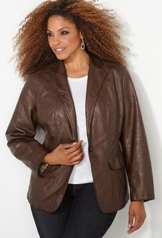 One Button Pleather Blazer