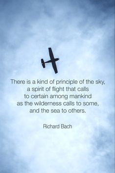 "In the book Gift of Wings, Richard Bach writes about the people who look up to the sky to watch airplanes, people who slow down when driving past airports. He says, ""If you act this way, it's… #aviationquotestheaviator"