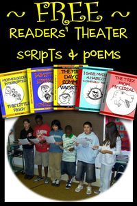 Free readers' theater scripts & readers' theater poems that provide fast, funny reading fluency activities for students in 3rd, 4th, 5th, and 6th grades.