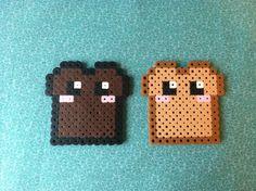 Kawaii #Toast and Burnt Toast #Perler Bead Magnet or keychain. $2.99, via Etsy.