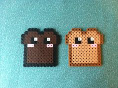 Kawaii #Toast and Burnt Toast #Perler Bead Magnet or keychain. $2.99, via Etsy.