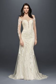 Fancy Long Sleeve Illusion Lace Wedding Dress Style SWG
