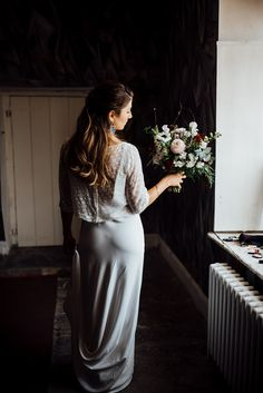 Modern bride in Charlie Brear bridal separates carrying oversized bouquet. The Shannons Photography. Slip Wedding Dress, Wedding Dresses, Wedding Shoes, Charlie Brear, Dresses Uk, Formal Dresses, Bridal Separates, April Wedding