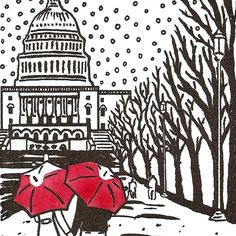 choose your favorite city;  then add a couple in love with red umbrella's.  Cool gift idea.