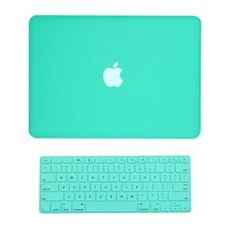 """Amazon.com: TopCase 2 in 1 Rubberized Robin Egg Blue Hard Case Cover and Keyboard Cover for Macbook White 13"""" (A1342/Latest) with TopCase Mo..."""