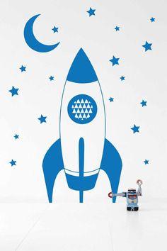 Ferm Living Rocket Wallsticker - Blue