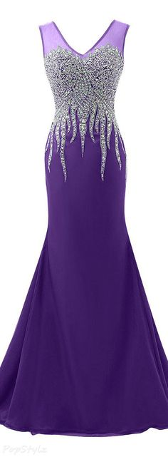 Sunvary Luxurious Rhinestone Tulle Mermaid Formal Gown - Purple Dresses - Ideas of Purple Dresses Purple Gowns, Purple Dress, Beautiful Gowns, Beautiful Outfits, Evening Dresses, Prom Dresses, Beaded Prom Dress, Purple Fashion, Trendy Fashion