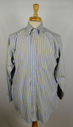 Brooks Brothers Men's Size 15.5/32 Blue and Yellow Striped Non Iron Dress Shirt…