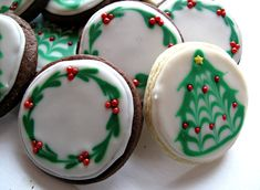 Decorated Sugar Cookies with Wreath and Christmas Tree Design-recipe and easy directions  The Monday Box