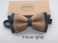 Lin pré attaché noeud papillon / jute Bow Tie pour par BugAndPepper