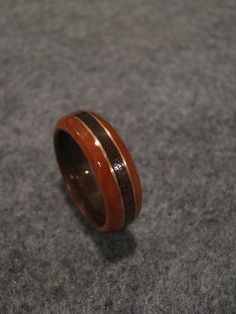 3/8 wood band of walnut copper and cherry by ByronsRingsAndThings, $100.00