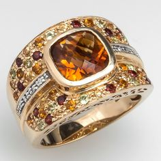 Citrine Wide Band Cocktail Ring Bezel Set 14K Gold