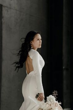 Fabulous Industrial Glam Wedding Style with an Open Back Long Sleeve Wedding Dress