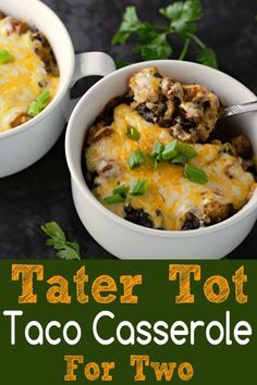 Homemade Taco Tater Tot Casserole for two features homemade taco seasoning with ground beef, black beans, tater tots, and enchilada sauce topped with gooey melted Colby Jack cheese. This dish makes two very generous individual servings and is quite fillin Tater Tot Casserole, Tater Tots, Beef Recipes, Mexican Food Recipes, Cooking Recipes, Recipies, Chinese Recipes, Mexican Dishes, Indian Recipes