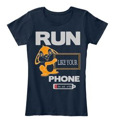 Run Like Your Phone   Is At 1% New Navy T-Shirt Front